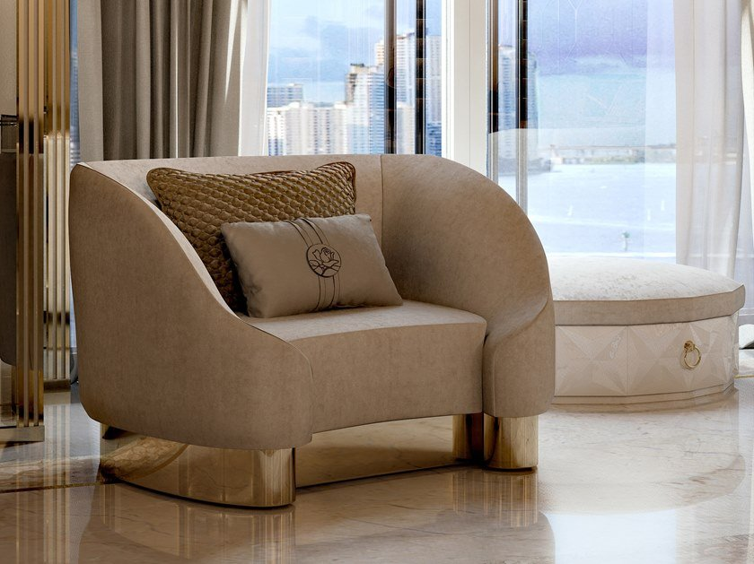 Fabric armchair with armrests INFINITY | Armchair with armrests by Bizzotto