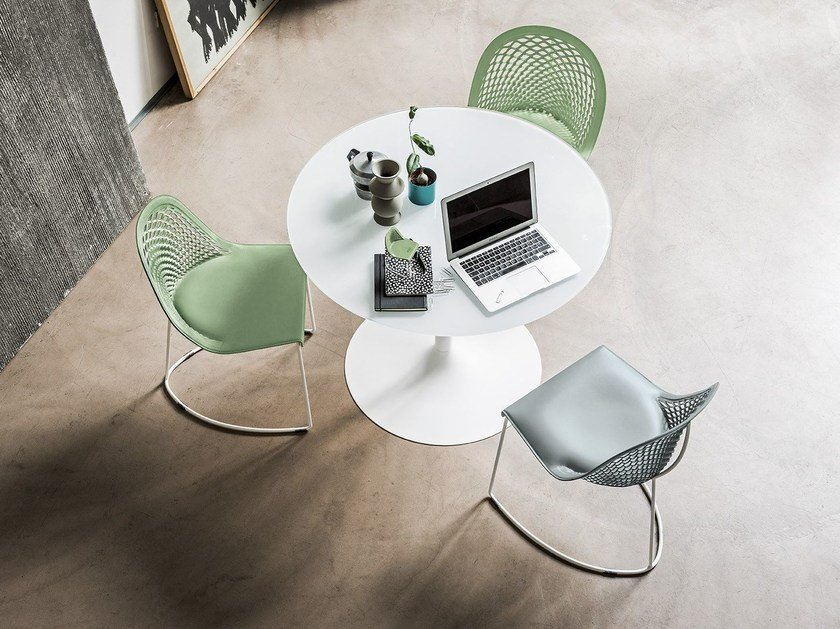 Round glass and aluminium table INFINITY | Round table by Midj
