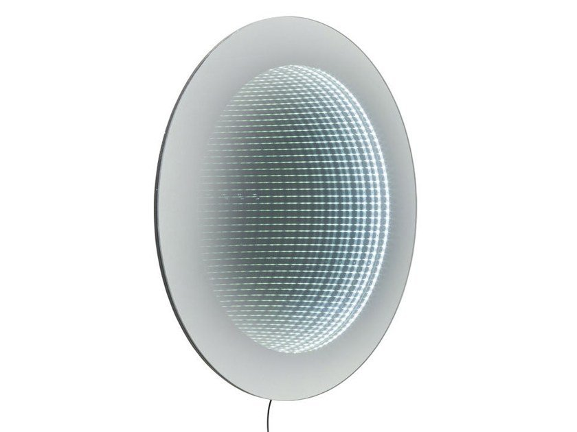 Round wall-mounted mirror with integrated lighting INFINITY | Round mirror by KARE-DESIGN