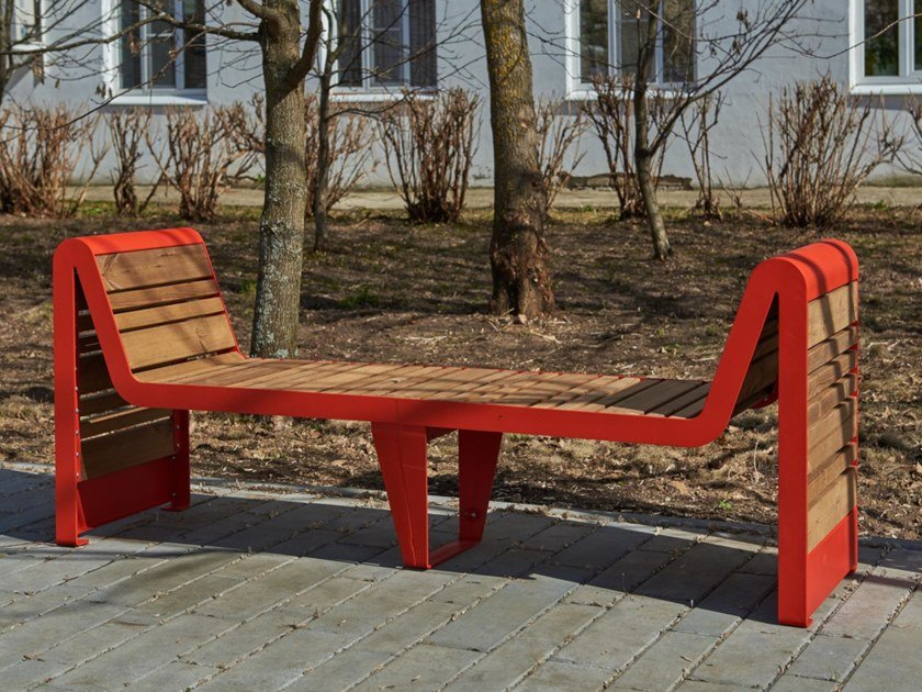 Steel and wood Bench with armrests INFINITY WOOD   Bench with armrests by Punto Design