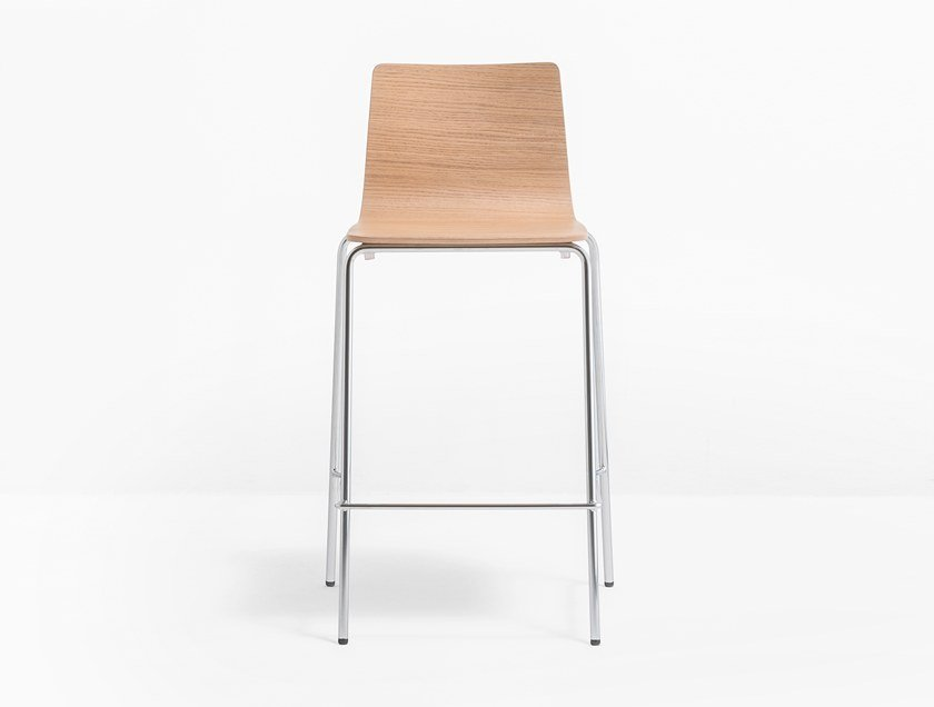 Wooden stool with footrest INGA   Stool by Pedrali