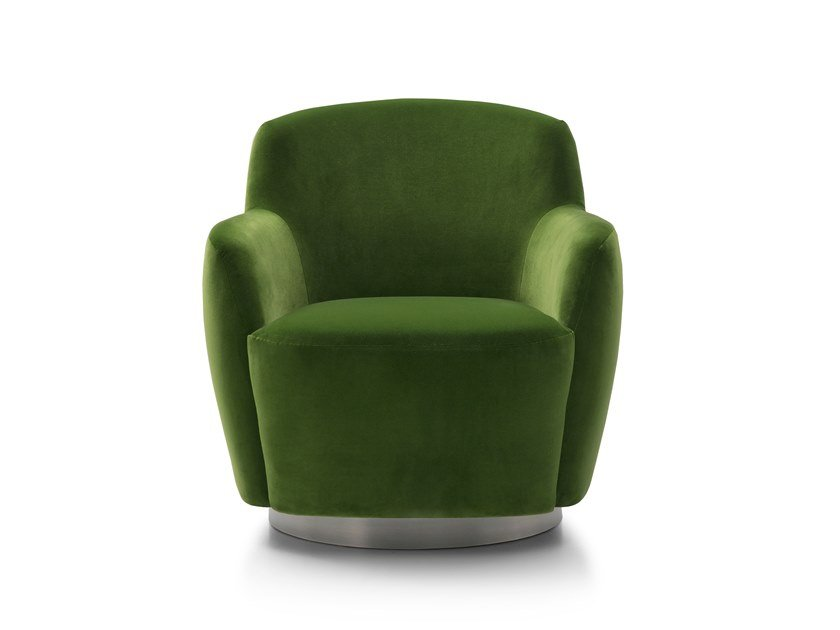 Swivel fabric armchair with armrests INGRID by Bodema