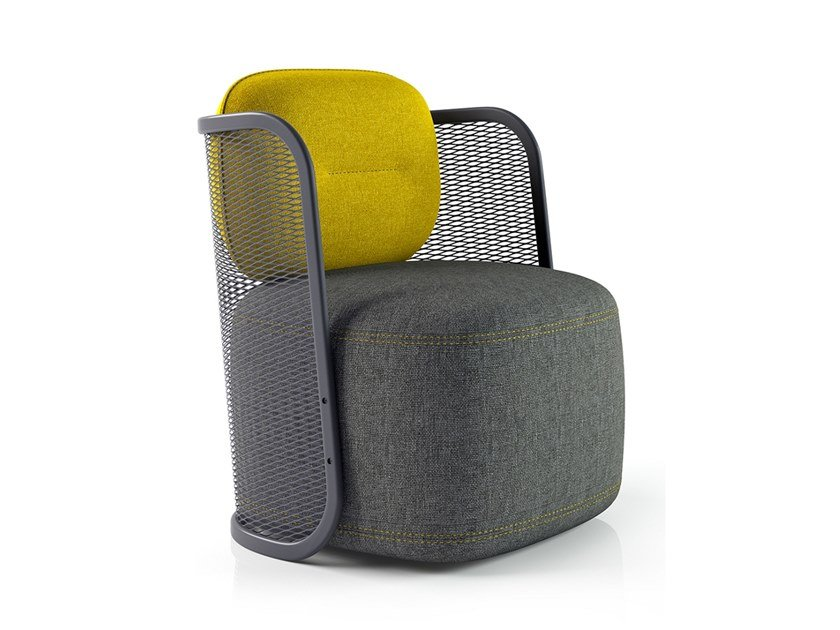 Fabric armchair with armrests INGRID by La Manufacture du Design