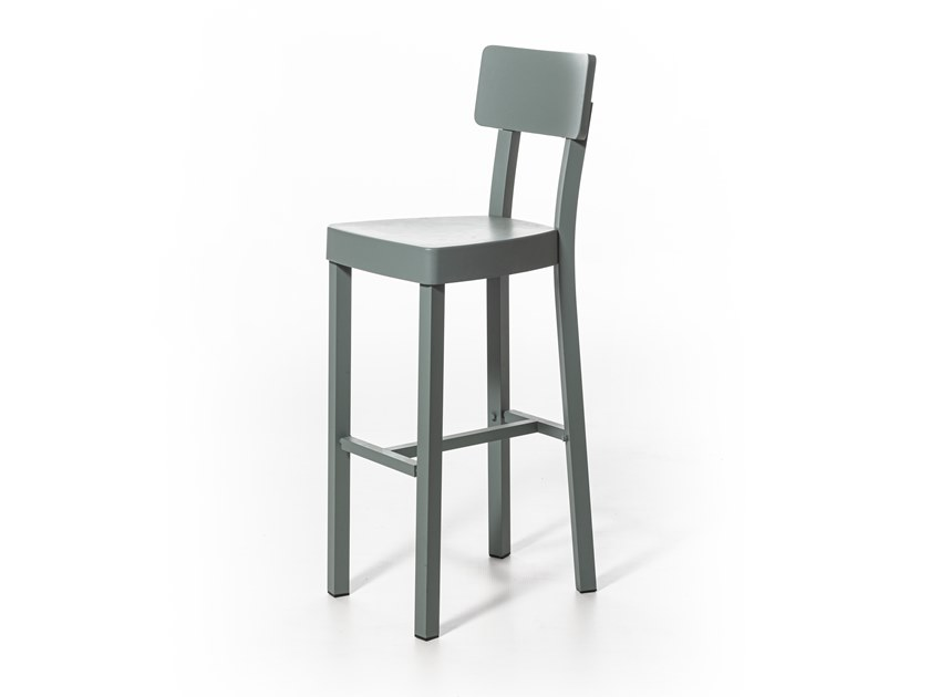 Powder coated aluminium stool with back INOUT 28 by Gervasoni