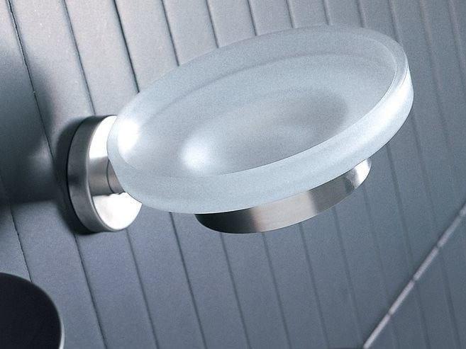 Portasapone a muro in vetro satinato INOX | Portasapone in vetro by INDA®