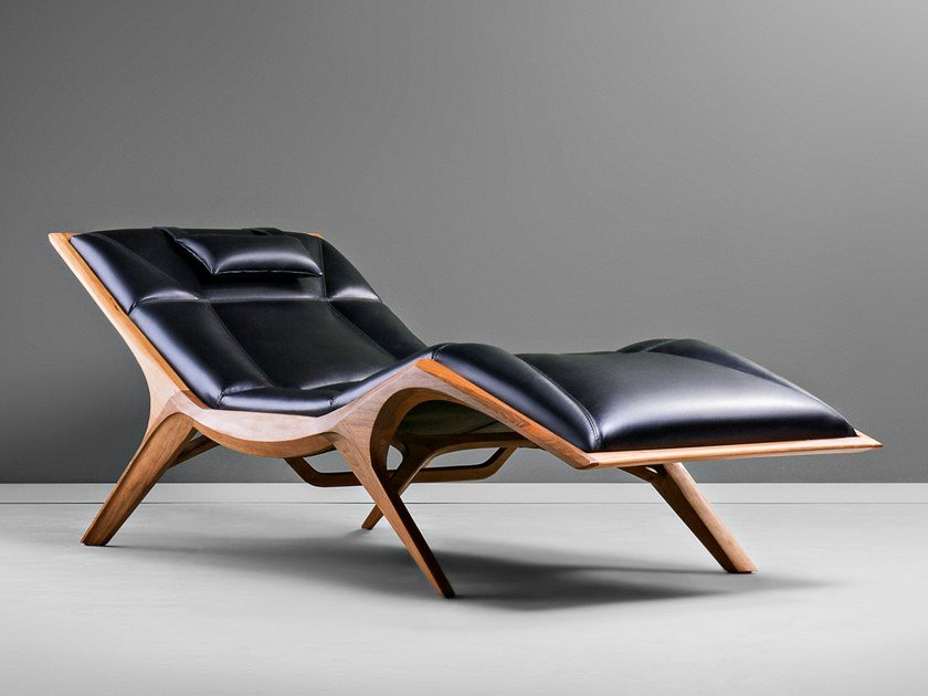 Upholstered Leather Chaise Longue