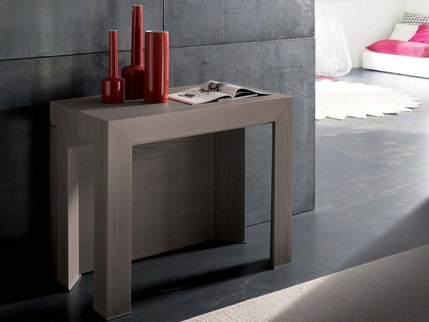 Extending rectangular wooden console table INSIDE by Ozzio Italia