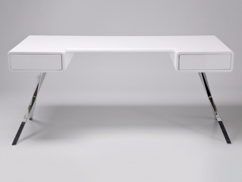 Rectangular steel and wood writing desk with drawers INSIDER by KARE-DESIGN