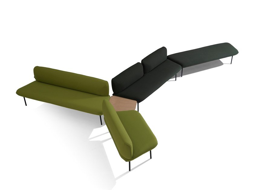 Fabric bench seating with back INSULA by Capdell