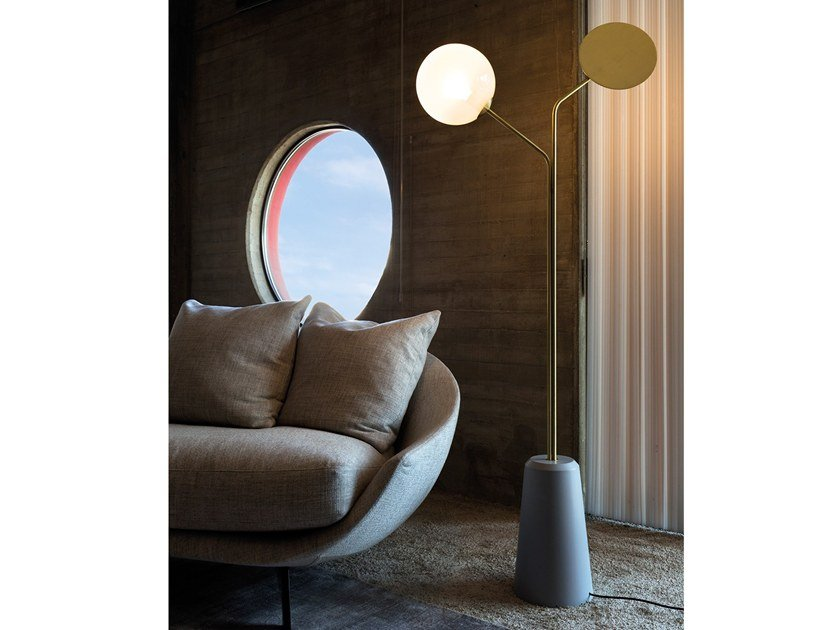 Contemporary style direct-indirect light brass floor lamp INTI 1460.2L by Cangini & Tucci