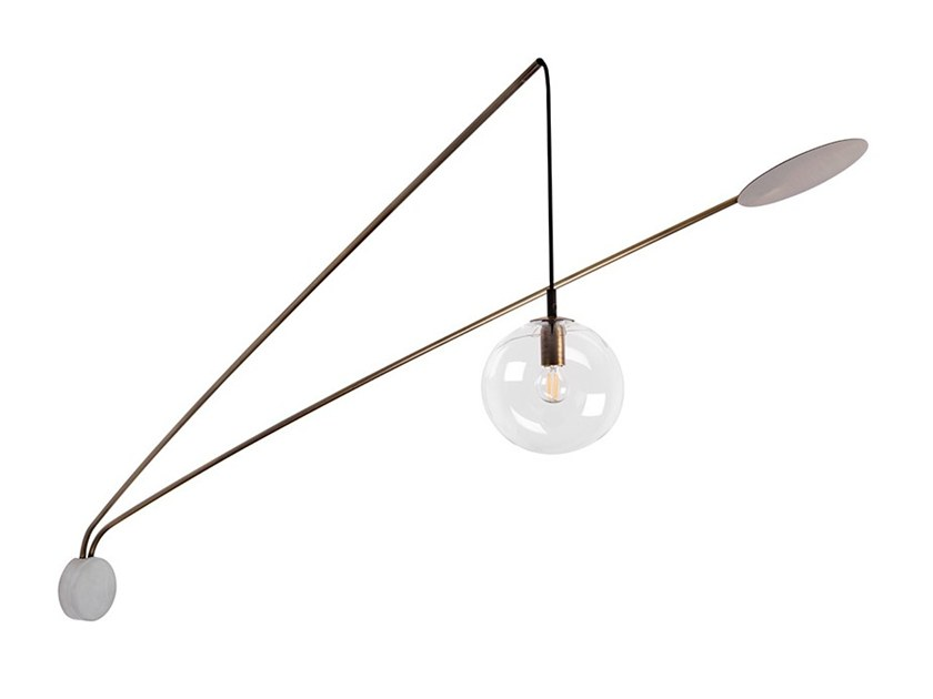 Direct-indirect light brass wall lamp INTI AP1460.2L by Cangini & Tucci