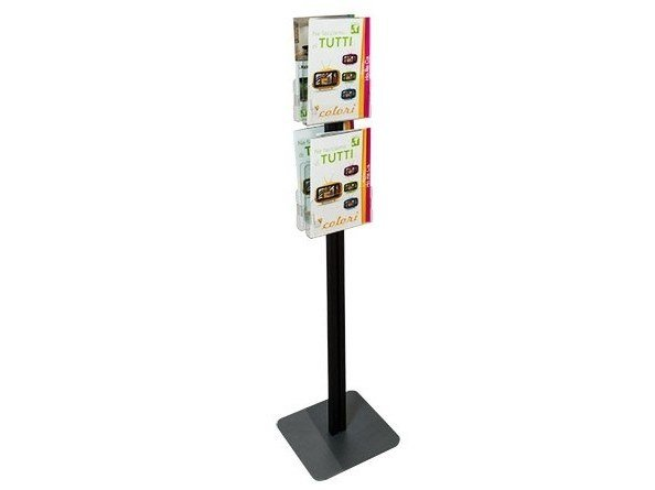 Double-sided floor-standing metal display unit for brochures INUNO STICK2B by STUDIO T