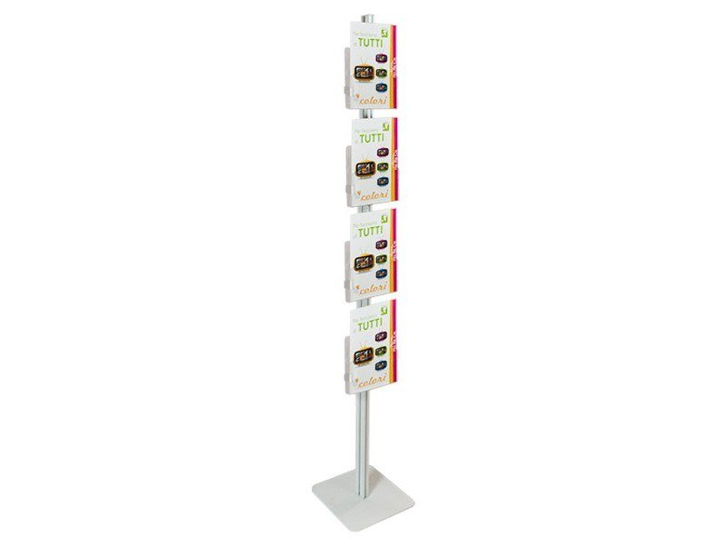 Double-sided floor-standing metal display unit for brochures INUNO STICK4 by STUDIO T