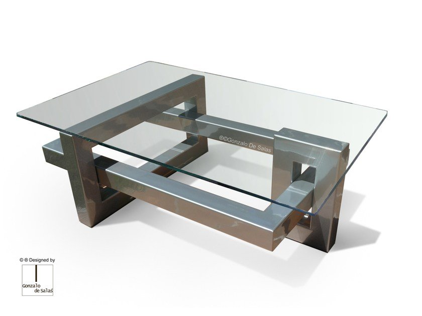 Rectangular Glass And Stainless Steel Coffee Table IOS | Rectangular Coffee  Table By Gonzalo De Salas
