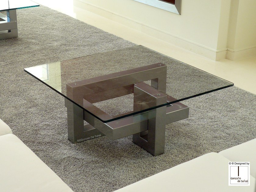 Square Glass and Stainless Steel coffee table IOS | Square coffee table by Gonzalo De Salas