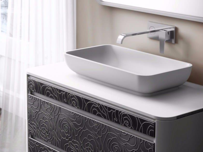 Countertop rectangular single Silexpol® washbasin IOTA by Fiora
