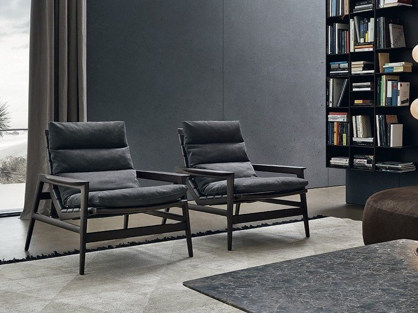 Upholstered fabric armchair with armrests IPANEMA | Fabric armchair by poliform