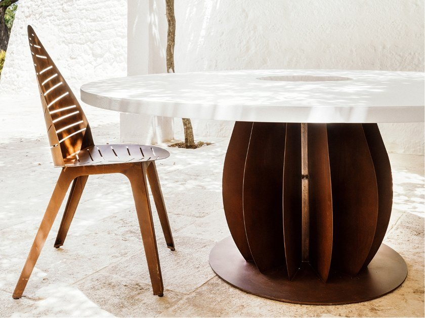 Round steel table IRIDE by TrackDesign