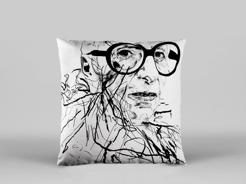 Square cushion with removable cover IRIS APFEL - ART18 by HENZEL STUDIO