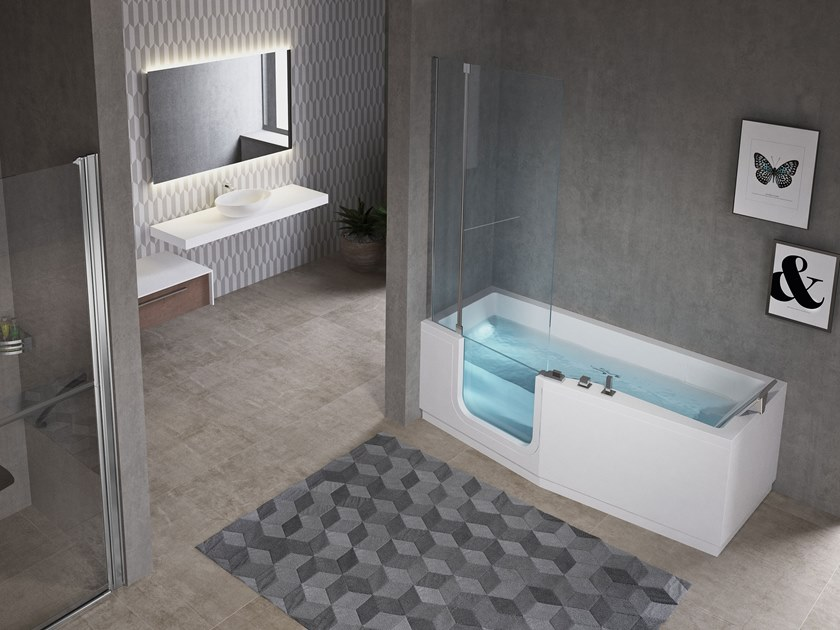 Whirlpool bathtub with door IRIS COMBY by NOVELLINI