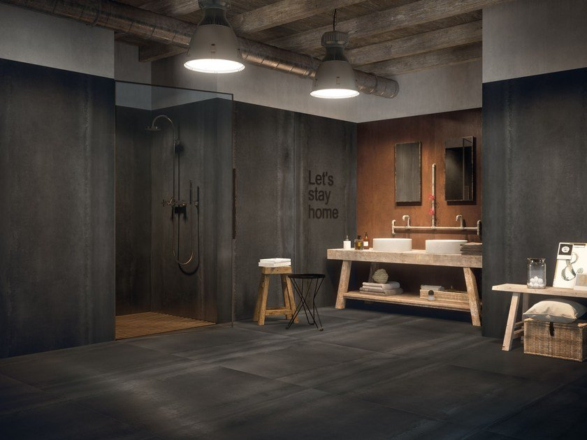 Porcelain stoneware wall/floor tiles with metal effect ACIDIC IRON by CERAMICA FONDOVALLE