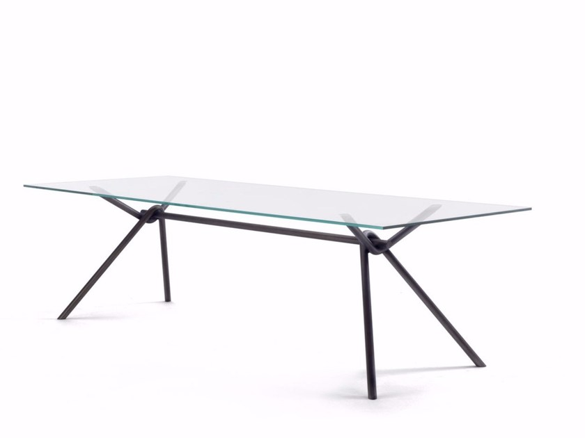 Rectangular crystal table IRON GLASS by Riva 1920