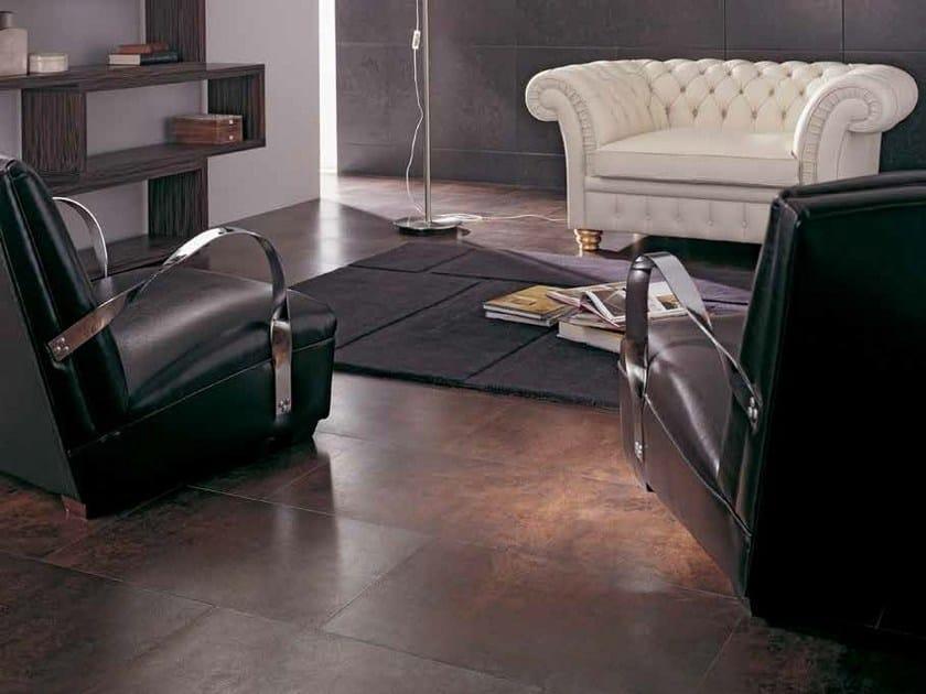Indoor/outdoor porcelain stoneware flooring with metal effect IRONKER by Venis