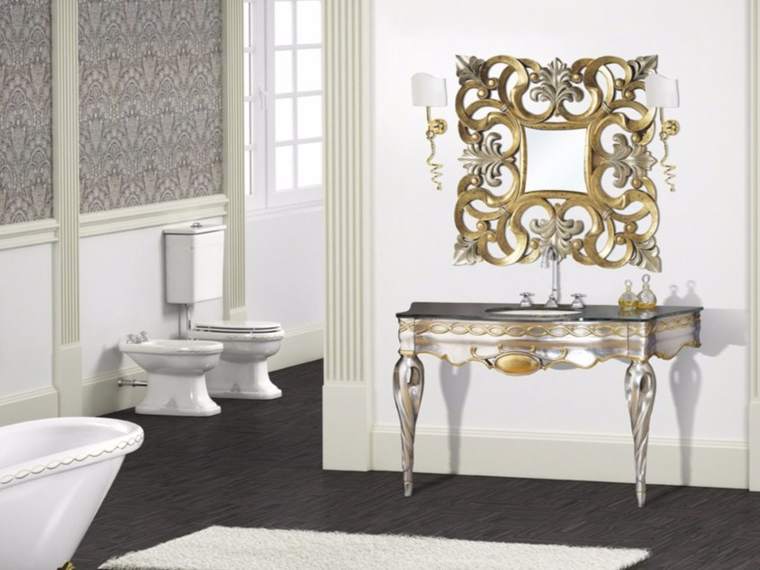 Lacquered console sink with mirror ISCHIA CM31DC by LA BUSSOLA