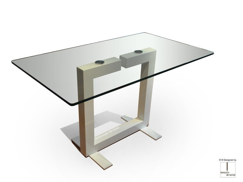 Rectangular glass and iron dining table ISIS | Rectangular table by Gonzalo De Salas