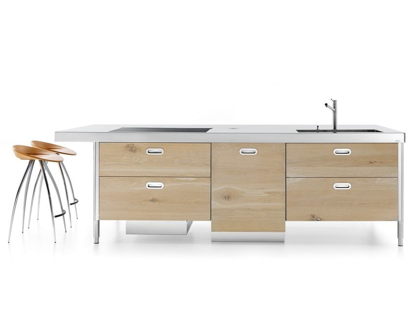 Stainless steel and wood kitchen unit ISOLA LC 280 SNACK by ALPES-INOX