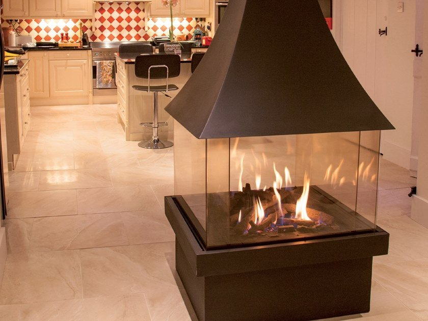 Gas central closed fireplace ISOLA 70 by BRITISH FIRES
