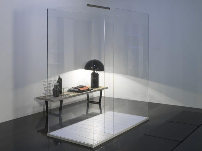 Box doccia centro stanza in vetro temperato ISOLA by Antonio Lupi Design