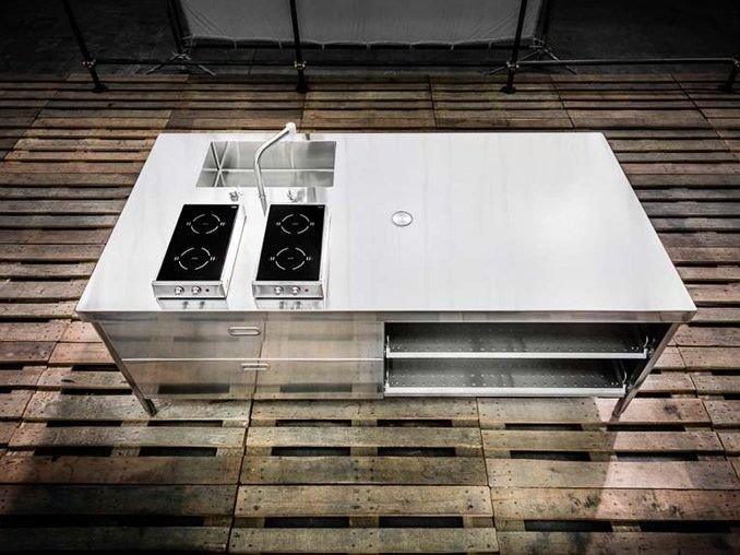 Stainless steel kitchen unit ISOLA CUCINA 250 by ALPES-INOX