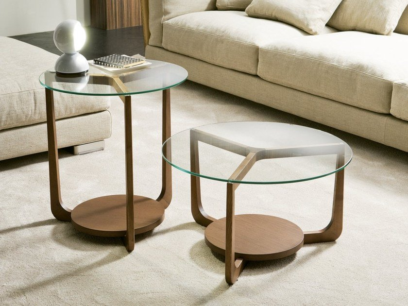 Low wood and glass coffee table ISOLA | Coffee table by Pacini & Cappellini