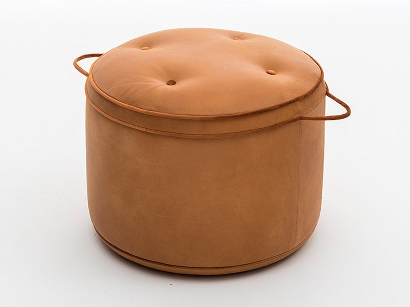 Round leather pouf ISOLA by OAK