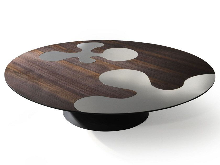 Low round steel and wood coffee table ISOLE | Steel and wood coffee table by ALBEDO