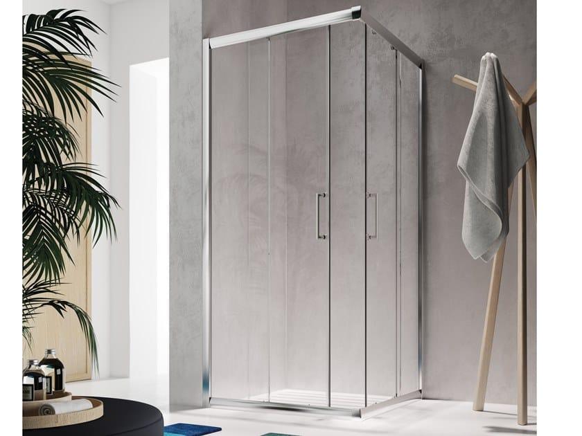 Corner shower cabin with sliding door ISY IX by Glass1989