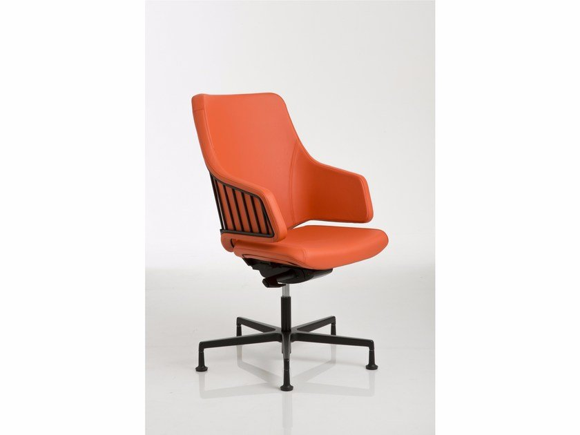 Height-adjustable reception chair with 5-spoke base ITALIA | Chair with 5-spoke base by Luxy
