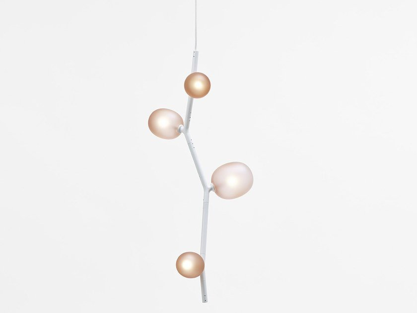 Direct light blown glass pendant lamp IVY VERTICAL by BROKIS