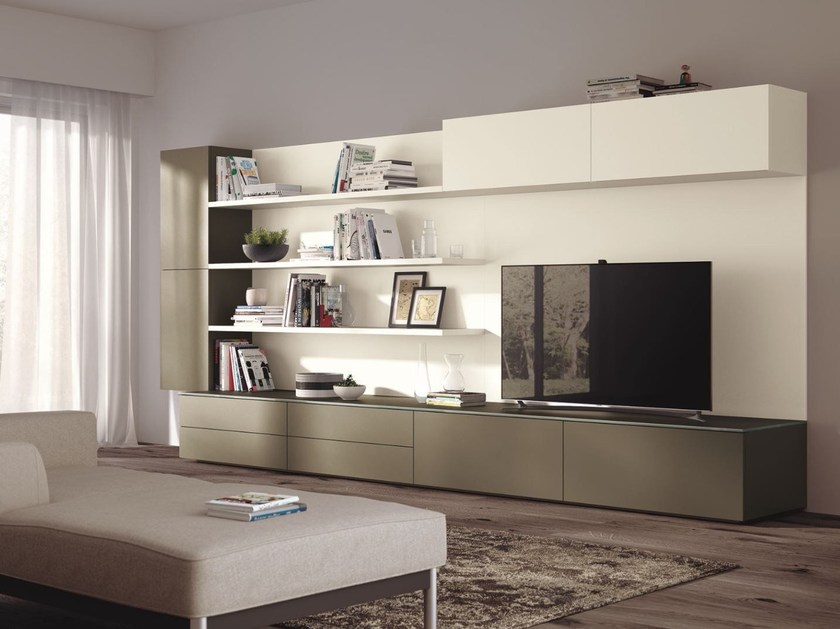 Sectional Storage Wall Indipendent Modular Units By Scavolini