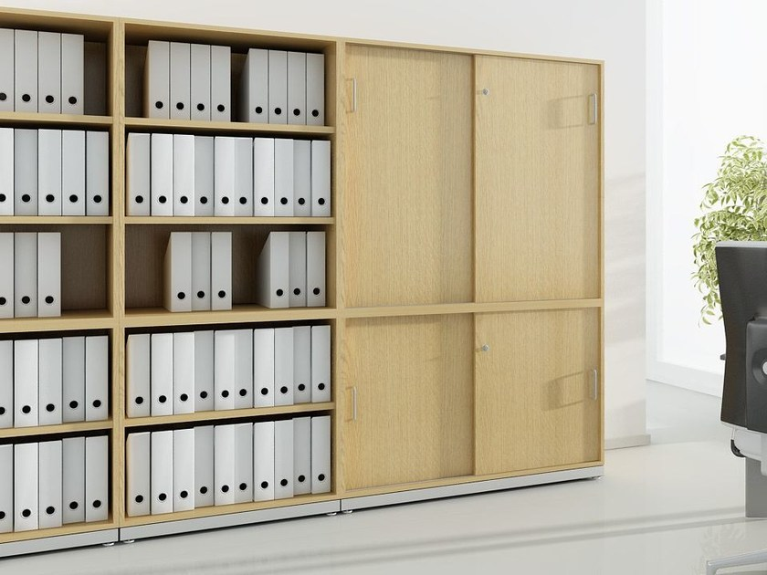 Office storage unit with sliding doors with lock J_SYSTEM | Office storage unit with sliding doors by BALMA