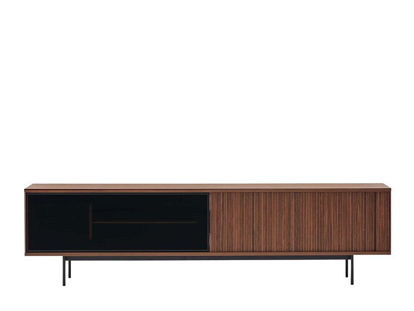 Wood and glass sideboard with folding doors JABARA AV BOARD by Ritzwell & Co.