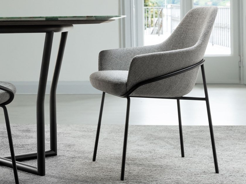 Upholstered fabric chair with armrests JACKIE   Chair with armrests by BertO