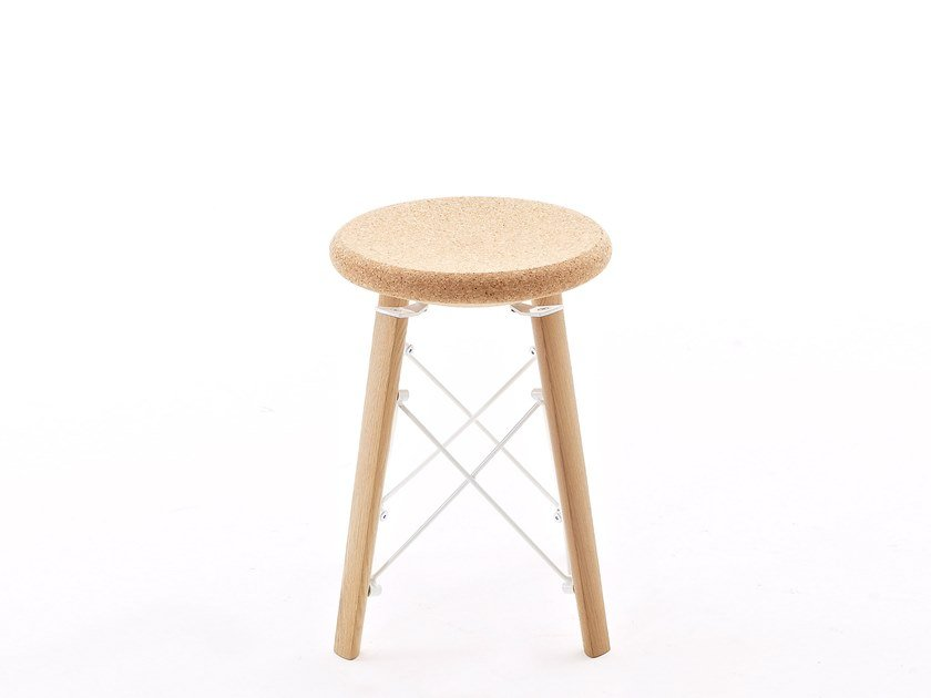 Low wooden stool JACKJR by Colico