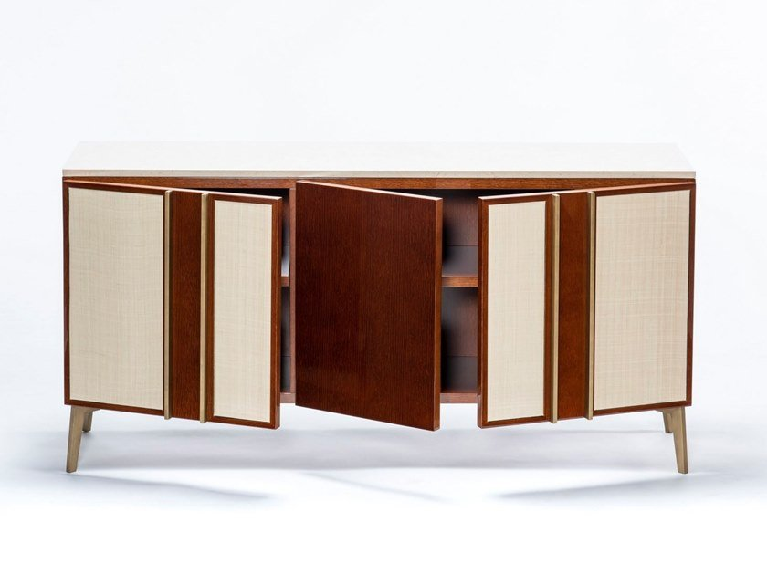 Wooden sideboard with doors JACOB by HUGUES CHEVALIER