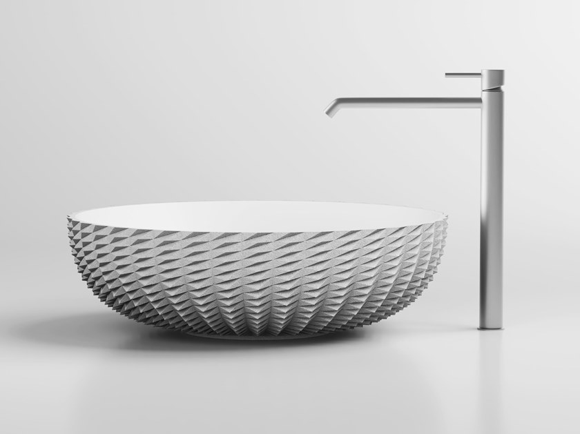 3D printed quartz sand washbasin JAG by Sandhelden