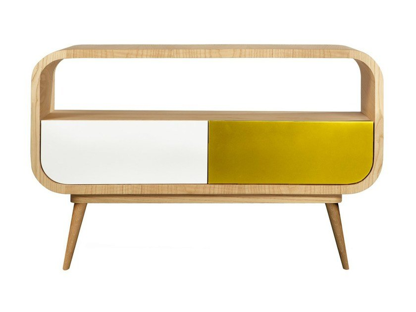 Wood veneer sideboard with doors JAGGER by AZEA