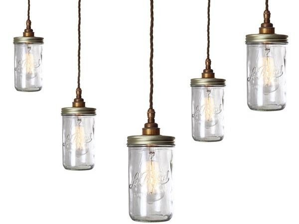 Handmade Glass Pendant Lamp JAM JAR Cluster By Mullan Lighting