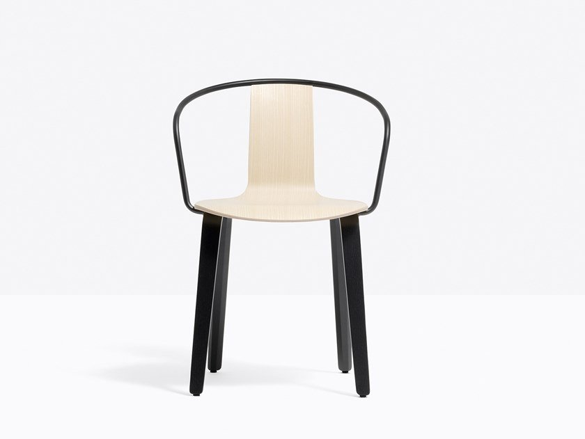 Multi-layer wood chair with armrests JAMAICA 2915 by PEDRALI