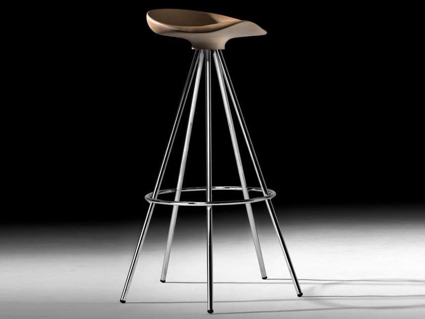 High trestle-based aluminium and wood stool JAMAICA | High stool by BD Barcelona Design